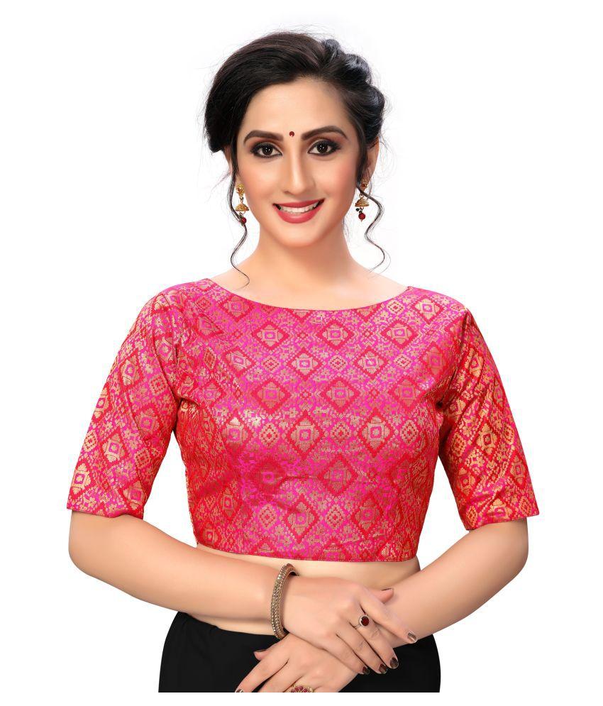 Shubh Sanidhya Pink Silk Semi Stitched Blouse