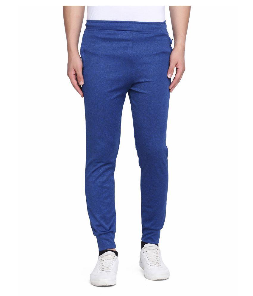 Galatea Blue Polyester Lycra Trackpants