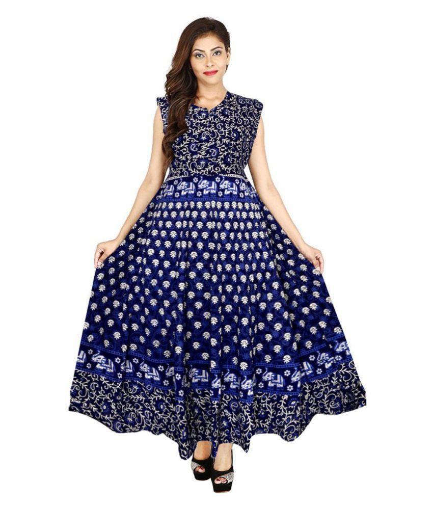 JWF Cotton Blue A- line Dress