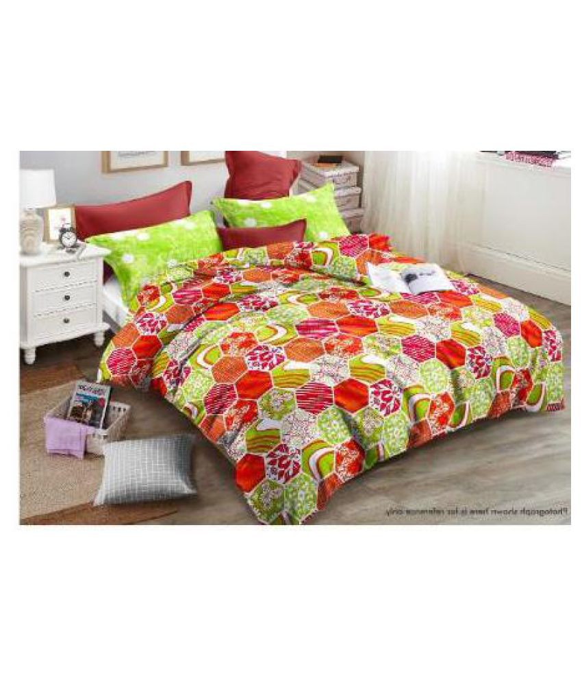 lazy bees Cotton Double Bedsheet with 2 Pillow Covers