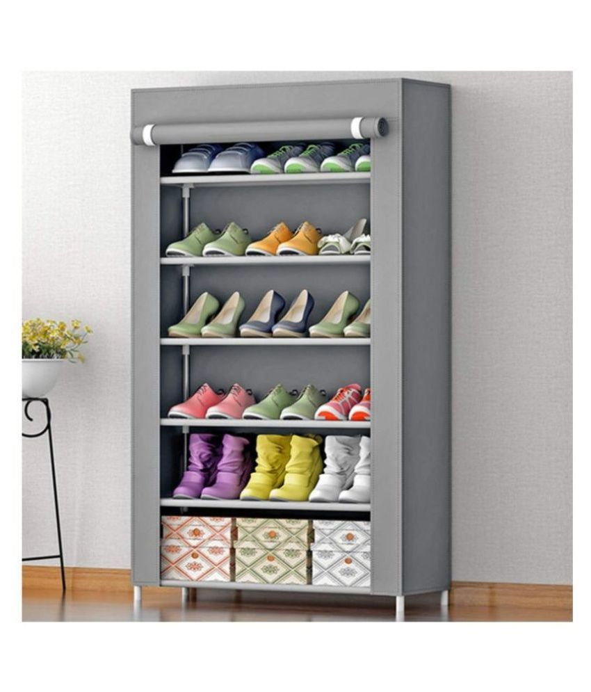 Coroid  6 Layer Grey Color Multipurpose Portable Folding Shoe Rack/Shoe Shelf/Shoe Cabinet with Wardrobe Cover, Easy Installation Stand for Shoes(ShoesRack 6Layer in Grey Color)(Shoe Racks for Home)(Grey) by Tinnitus