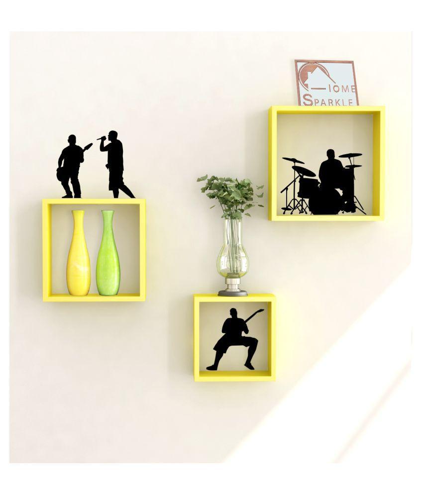 Home Sparkle Floating Shelves Black MDF - Pack of 3