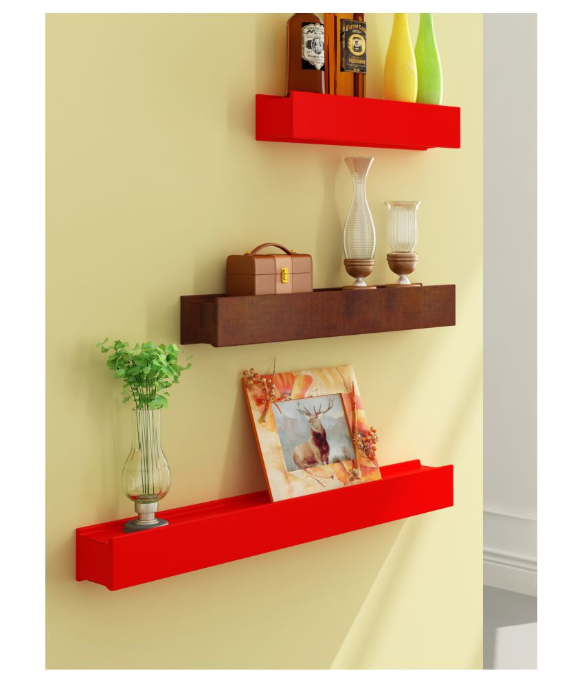 Home Sparkle Floating Shelves Red MDF - Pack of 3