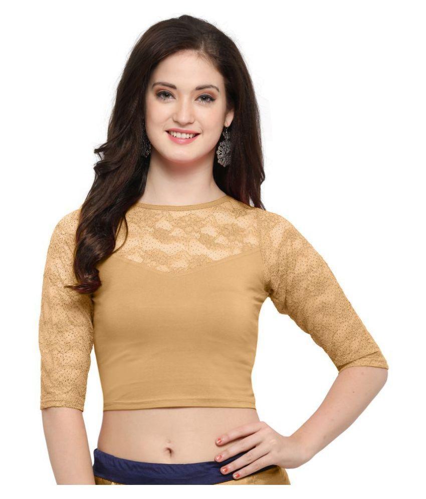 Janasya Beige Lycra Readymade without Pad Blouse