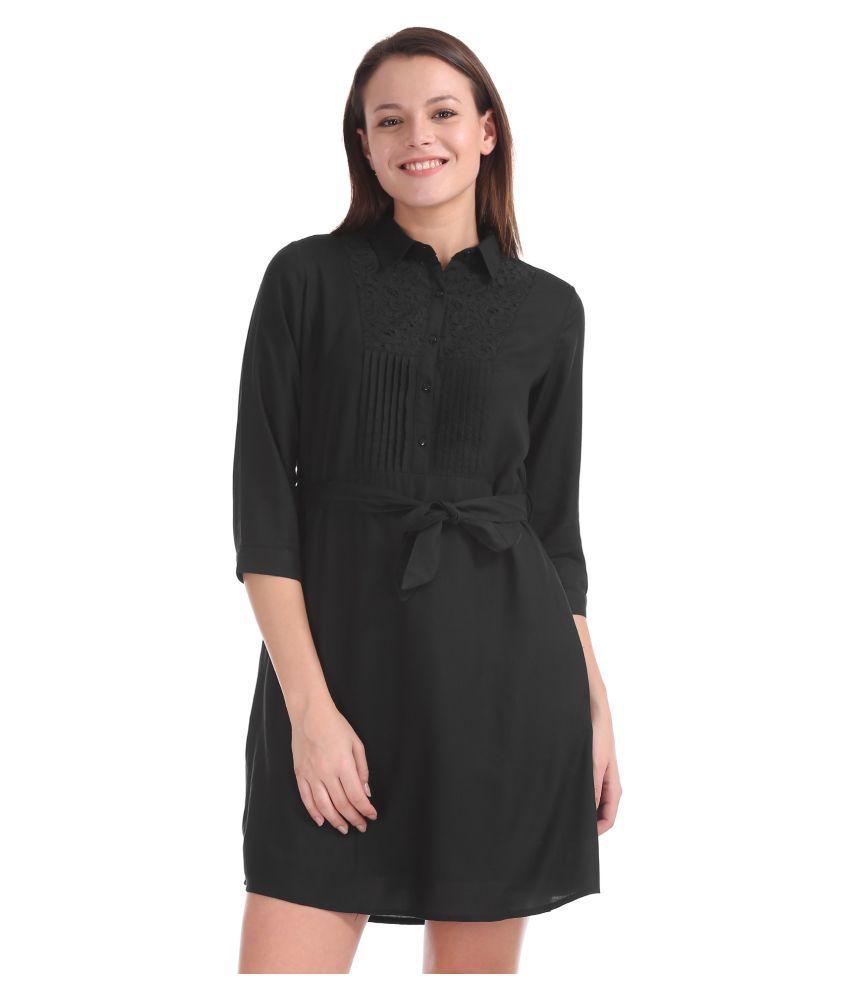 Cherokee Rayon Black Shirt Dress