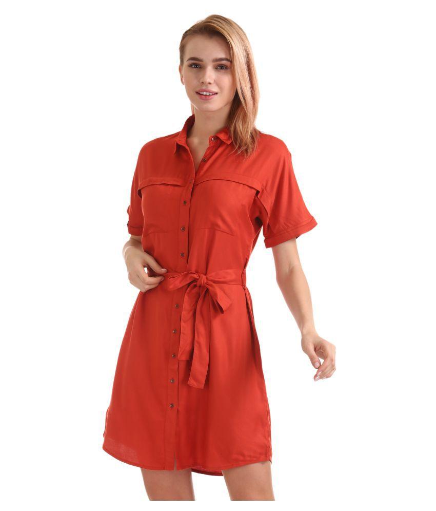Cherokee Rayon Orange Shirt Dress
