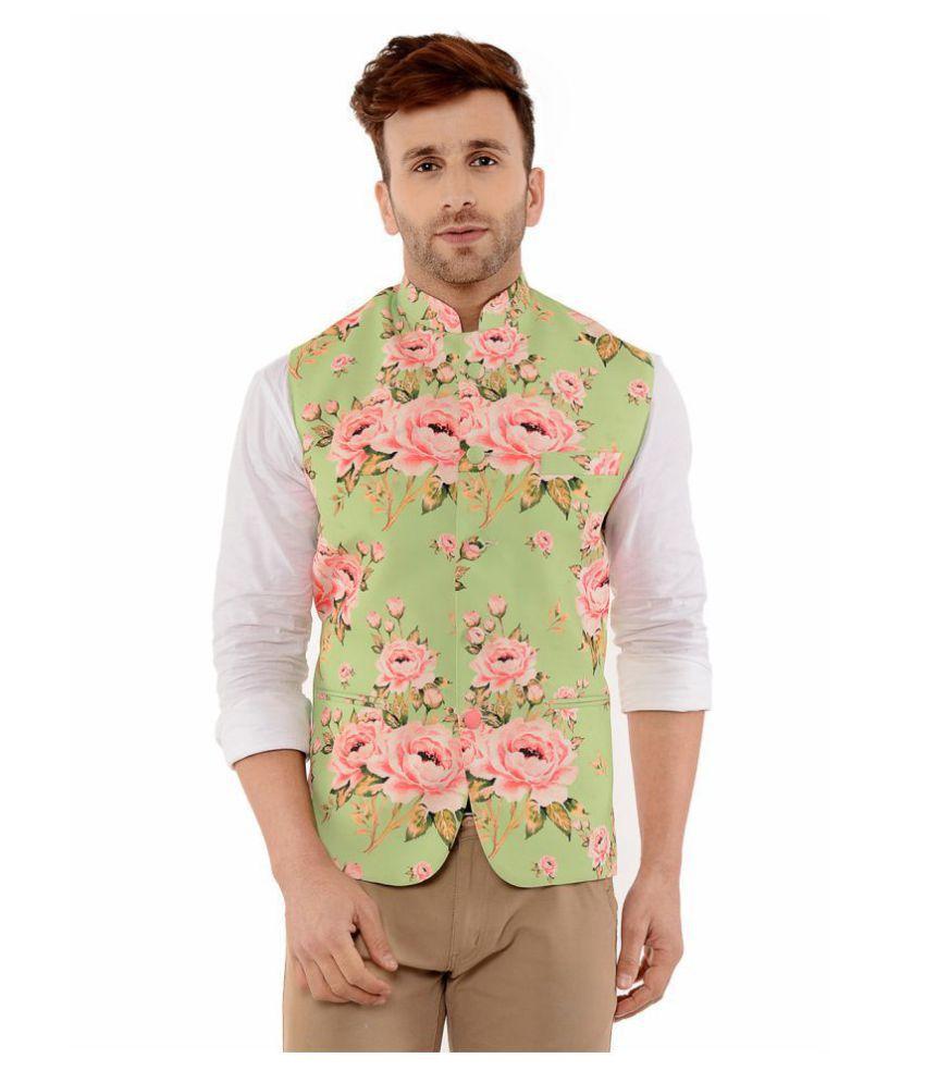 Hangup Pink Cotton Blend Nehru Jacket