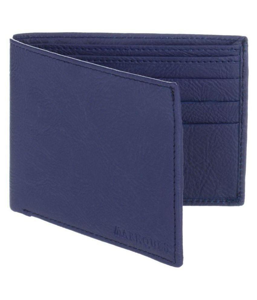 MARKQUES PU Blue Casual Regular Wallet