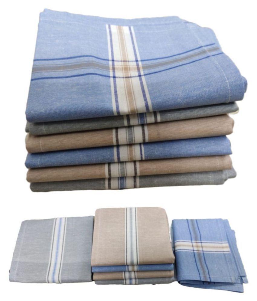 The Cotton Club 12pcs stripes ,Cotton Handkerchief, Machine washable Rumal, Hankey For Man(RAJA)