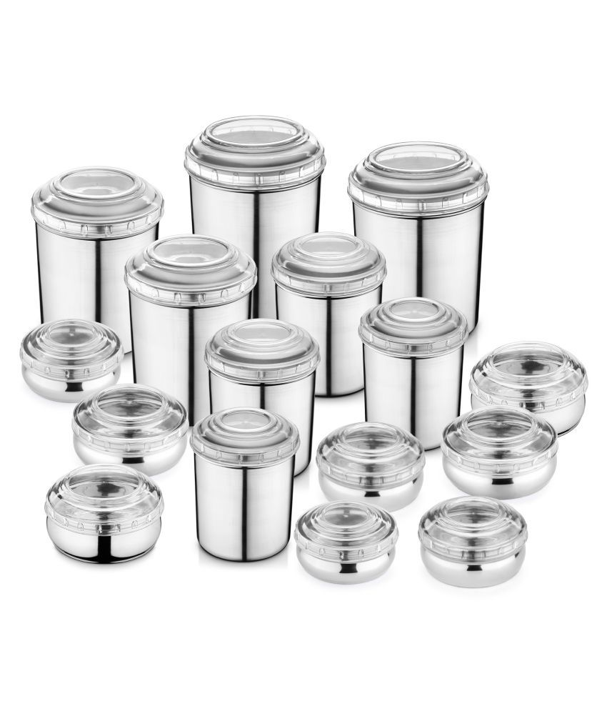 Jensons Belly Steel Food Container Set of 16 3800 mL