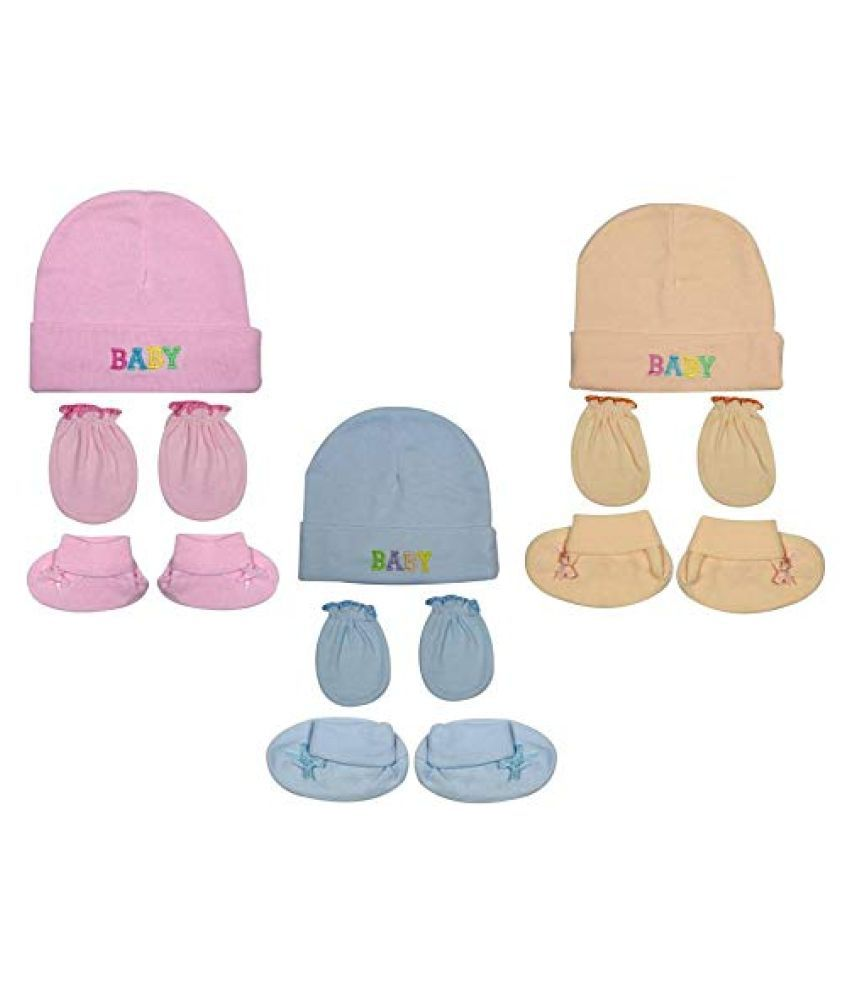 Gouravsumana Baby Boys and Baby Girl's Soft Cotton Cap ( Multicolour ; Pack Of 3 ) 0-6 Months