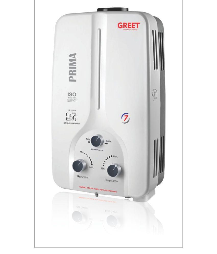 Greet 7 Ltr Prima Gas Geyser Instant - Geysers WHITE