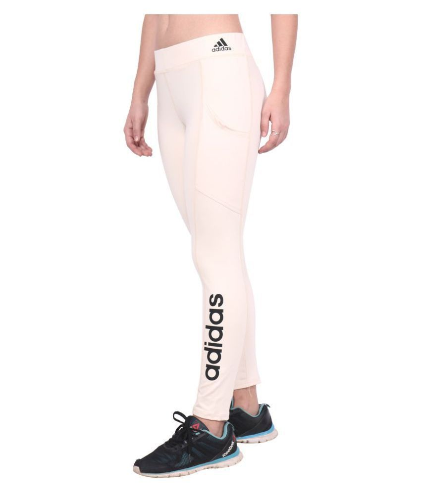 Adidas Peach Polyester Lycra Solid Tights