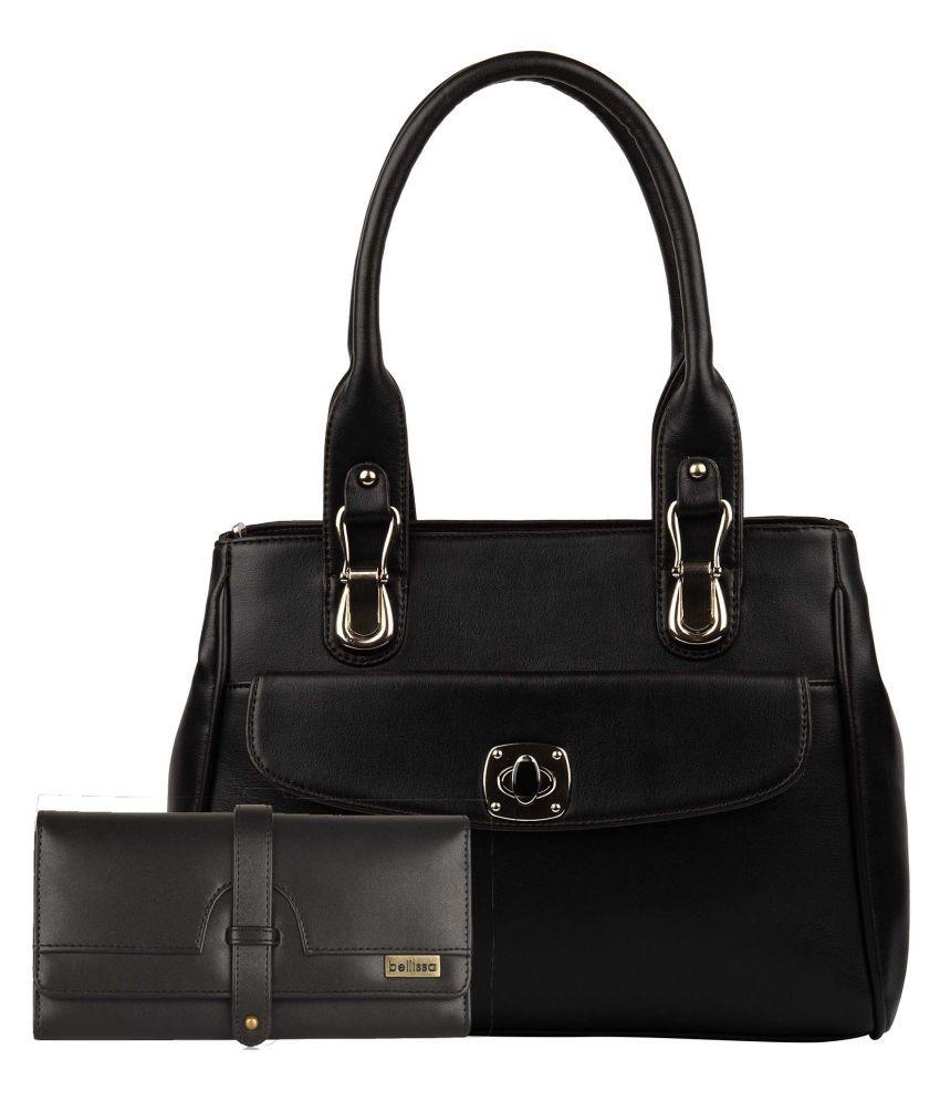 BELLISSA Black Faux Leather Shoulder Bag