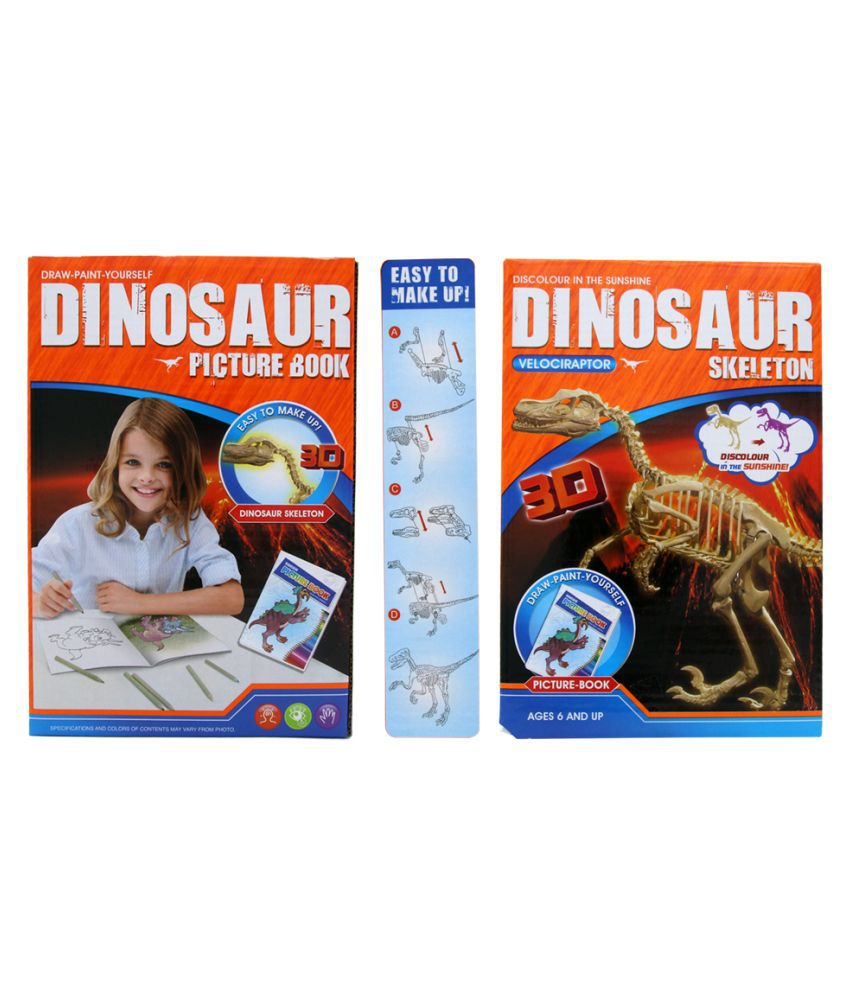 EZ Life Color Changing 3D Dinosaur Skeleton (Velociraptor) Model Maker with Picture Book Kit - Fun with Education - Dino Skeleton Kit - Birthday Gift for Kids - Return Favours for Kids
