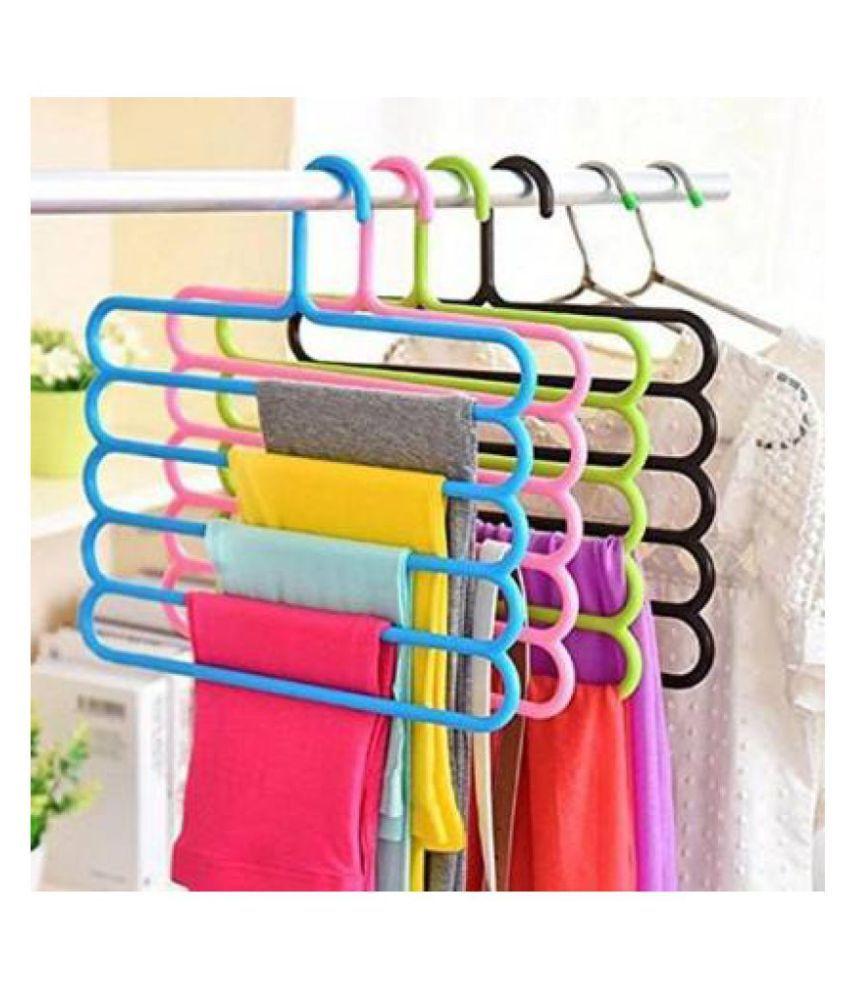 Plastic Multi Purpose Magic Closet 5 Layers Trouser Hangers Space Saver Storage (Multicolored, Standard Size) - Set of 4