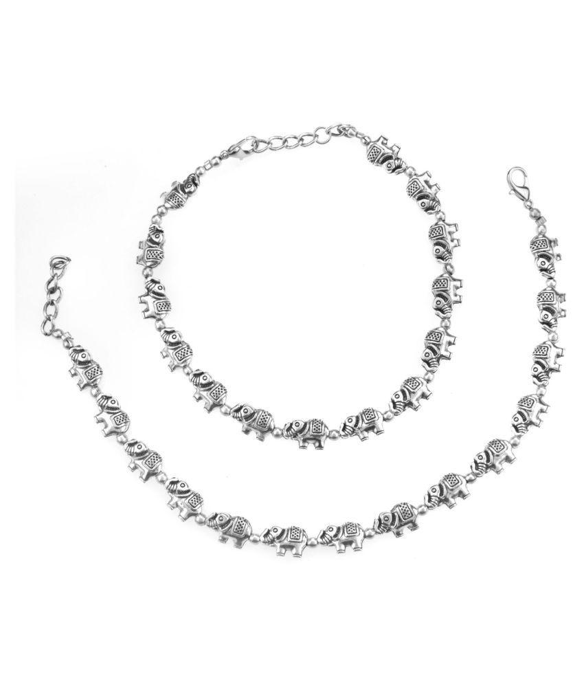 Archi Collection Fashion Stylish Trendy Oxidised Silver Elephant Beaded Charm Anklet Set Payal Jewellery