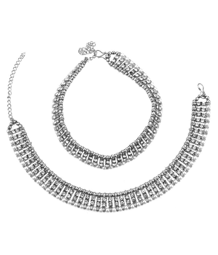 Archi Collection Traditional Antique Oxidised Silver Plated Crystal Pearl Wedding Bridal Wear Anklet Set Payal Jewellery