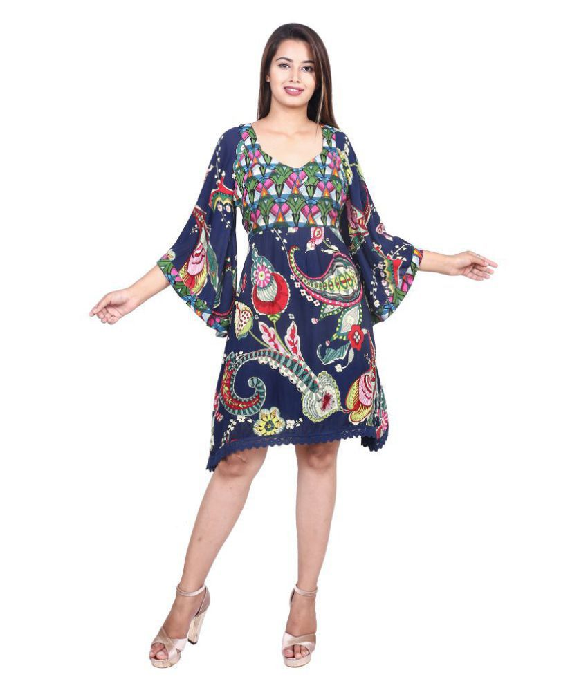 GOODWILL Georgette Blue A- line Dress