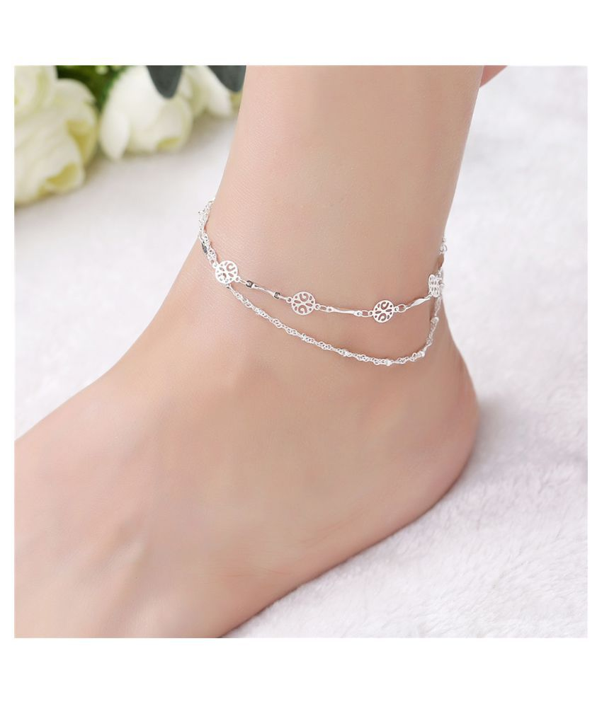 Gopalvilla New White And Silver Plated Anklet