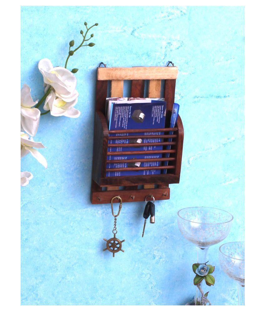Home Sparkle Wooden Letter Rack Cum Key Holder (BROWN)