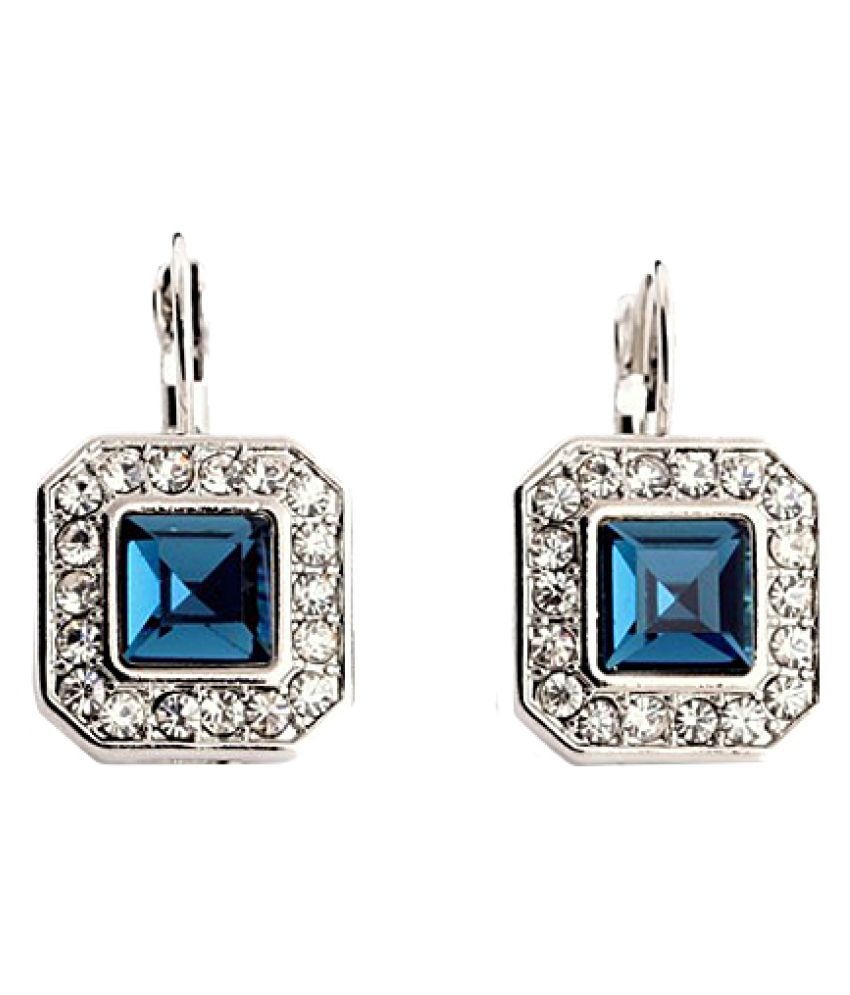 Femnmas Blue Gemstone Square Earrings For Girls