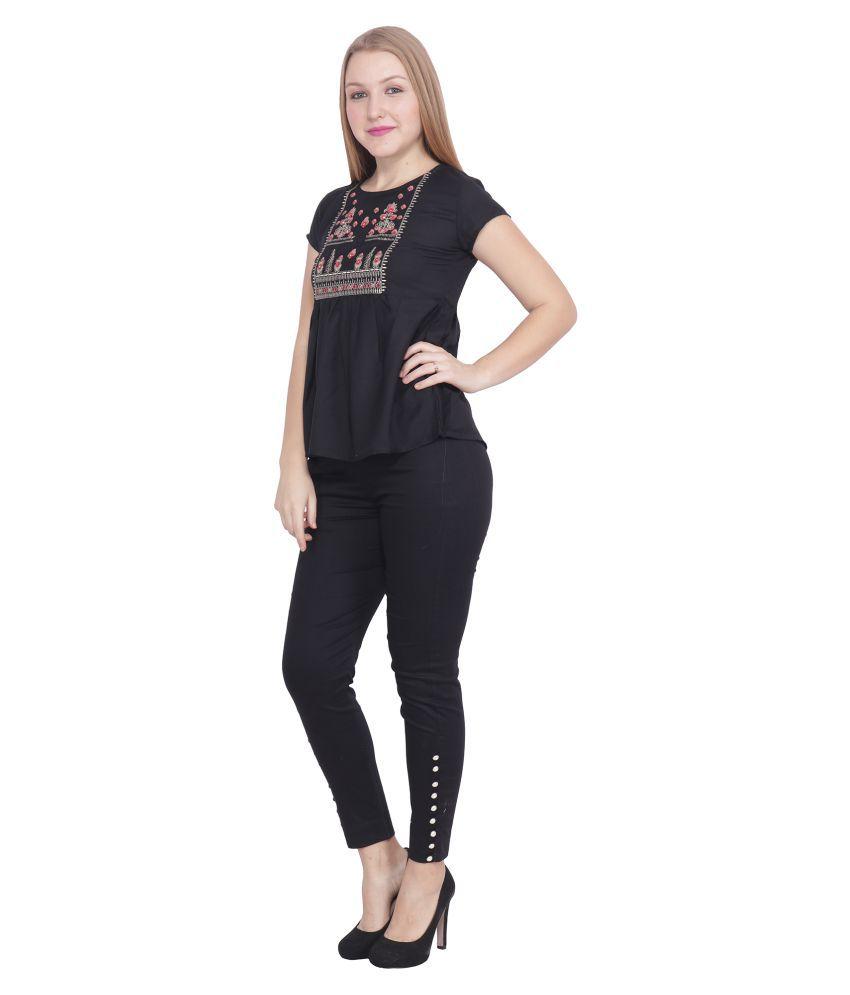 POPWINGS Black Cotton Jumpsuit