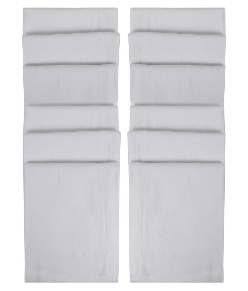SIDEWOK Plain White Cotton Handkerchief For Men 12 Pack
