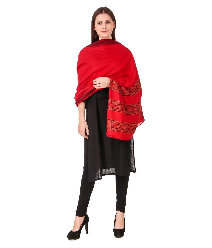 Bravezi Red Kashmiri Shawl