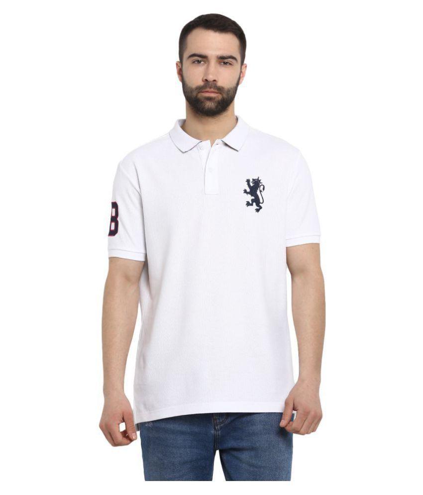 Red Tape 100 Percent Cotton White Plain Polo T Shirt