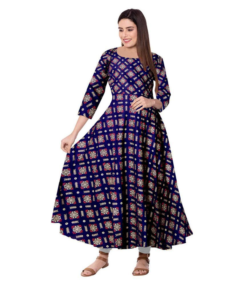 JWF Rayon Blue A- line Dress