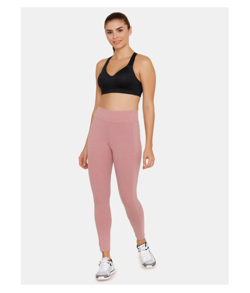 Zelocity Pink Cotton Solid Tights