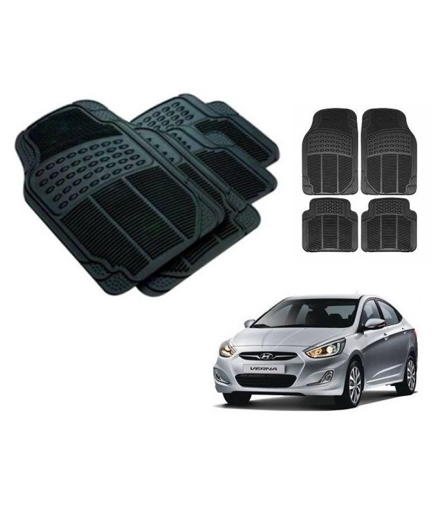 Neeb traders Car Rubber Foot  Mats for  Hyundai Verna Fludic (Set of 4, Black)