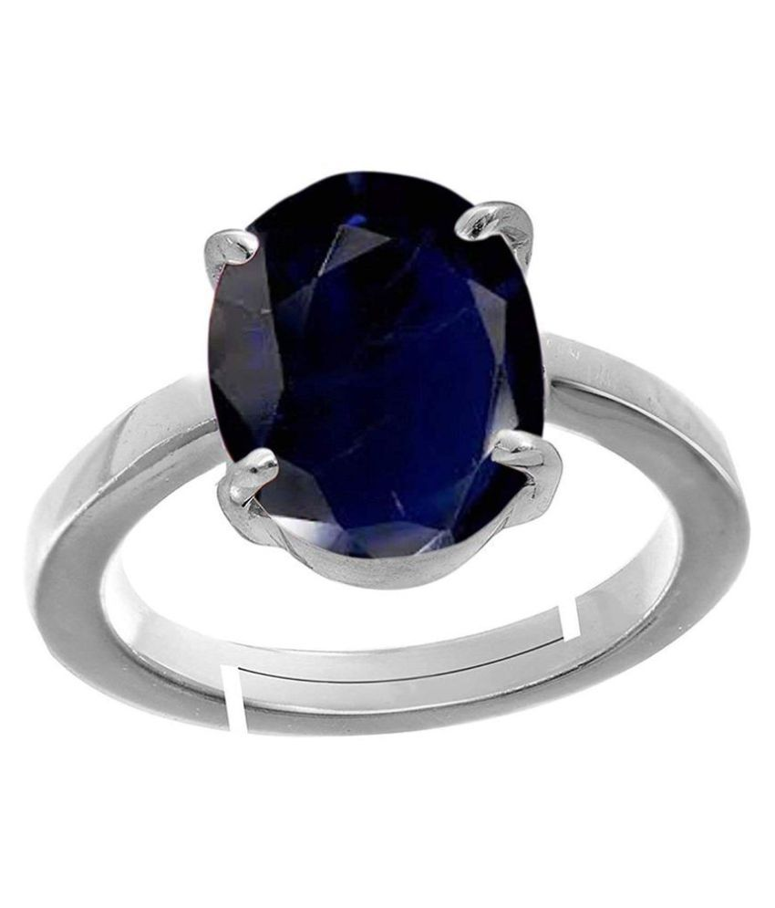 Todani Jems® 5.25 Ratti Certified Blue Sapphire (Neelam) Silver+White Metal KANTA Ring for Men And Women