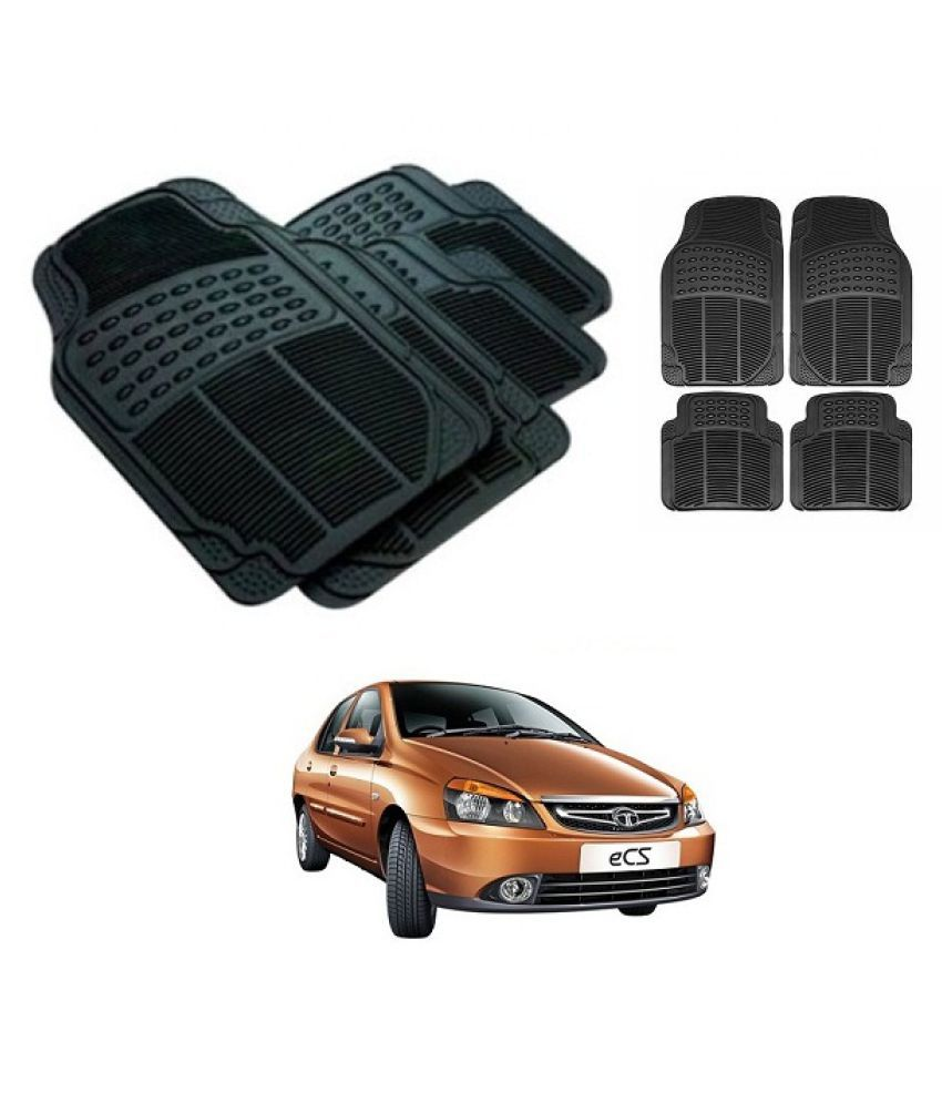 Neeb traders Car Rubber Foot  Mats for Tata Indigo ECS (Set of 4, Black)