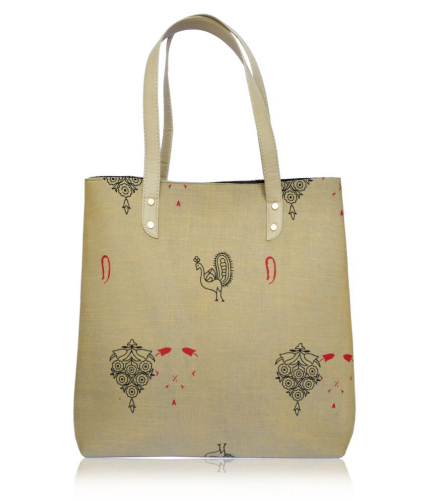 Slayzo Beige Cotton Tote Bag
