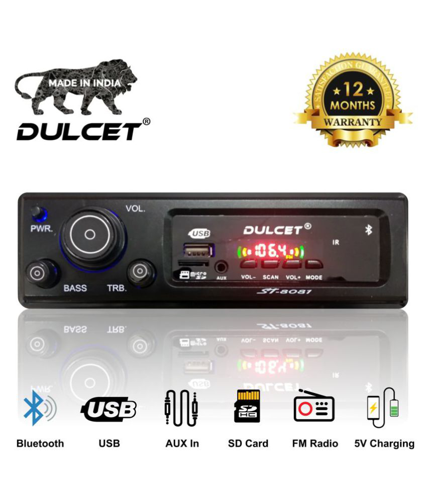 Dulcet DC-ST-8081 Double IC High Power Universal Fit Mp3 Car Stereo with Bluetooth/USB/FM/AUX/MMC/Remote & Built-in Equalizer with Bass & Treble Control [Also, Includes a Free 3.5mm Aux Cable]