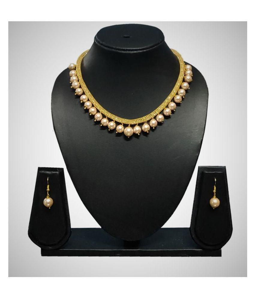 SAVESA Alloy Off White Statement Designer Gold Plated Necklaces Set