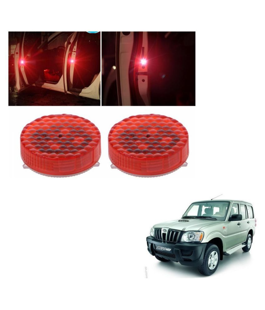 Auto Addict Waterproof 5 LED Wireless Car Door Warning Open Lights Indicator Decor Interior Flash Magnetic car led Lights for Anti Rear-End(RED) Free Batteries (2 Pair 4 pcs) For Mahindra Old Scorpio