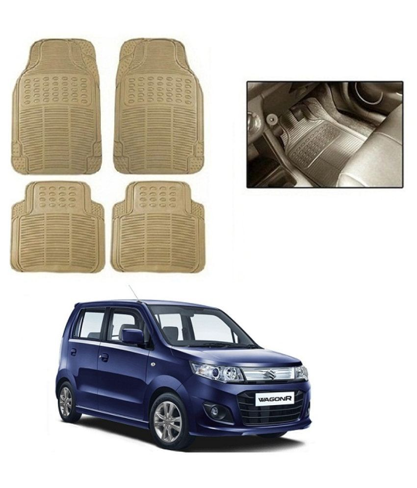 Neeb traders Car Rubber Foot  Mats for Maruti Suzuki WagonR 2019 (Set of 4, Cream)