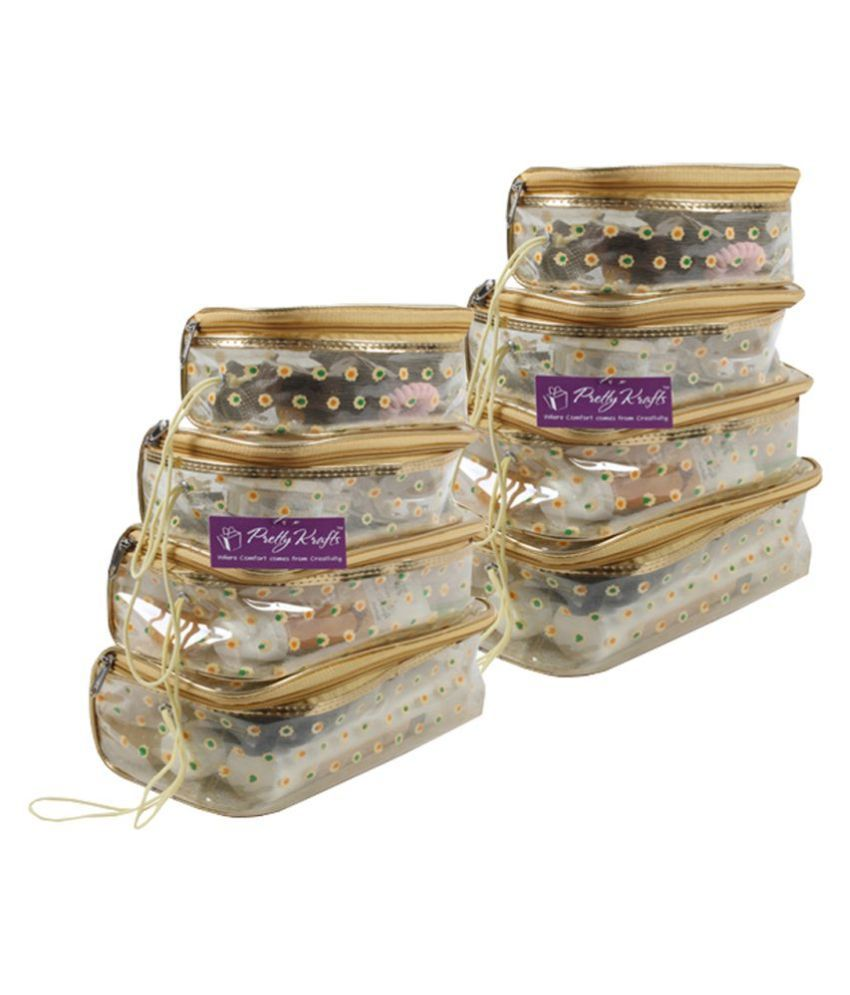 PrettyKrafts Vanity Box - Transparent Multipurpose Makeup Cosmetics Bag - Printed Organizer (Set of 8)