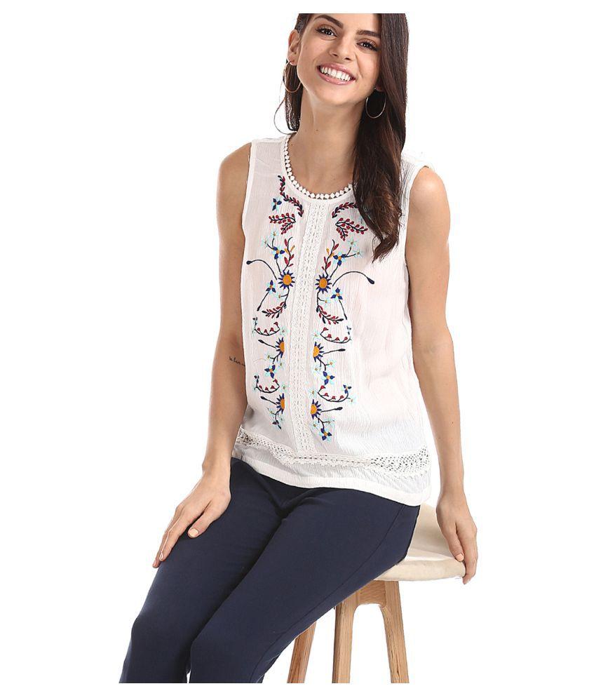 Sugr Rayon Regular Tops - White