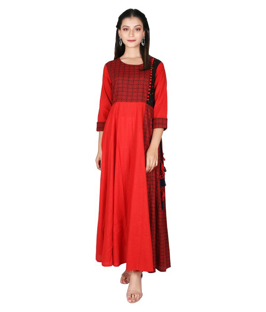 fabGlobal Cotton Red A- line Dress