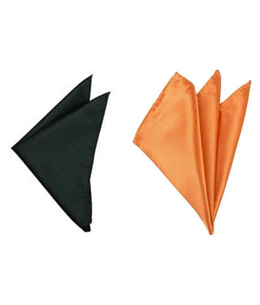 Voici France Dark Grey and Orange satin Solid Pocket Square Combo Pack of 2