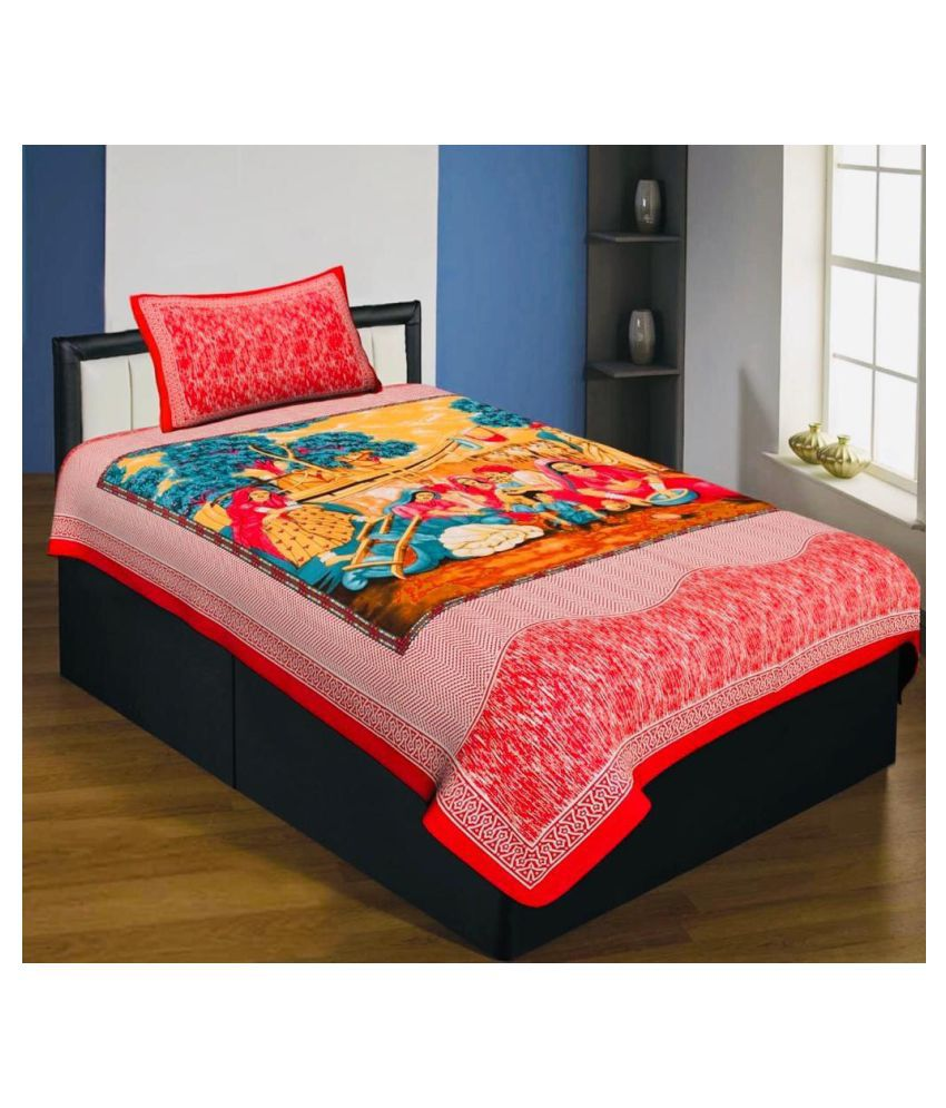 lazybees Cotton Single Bedsheet with 1 Pillow Cover