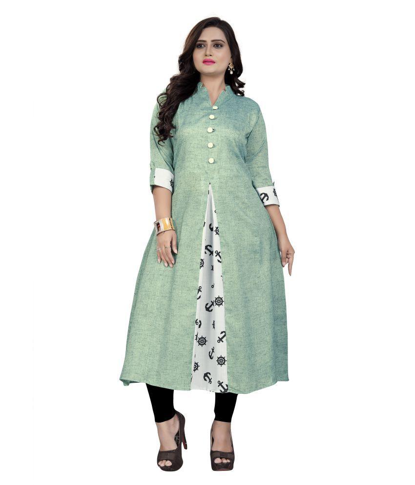 Sukhvilas Fashion Green Cotton Anarkali Kurti