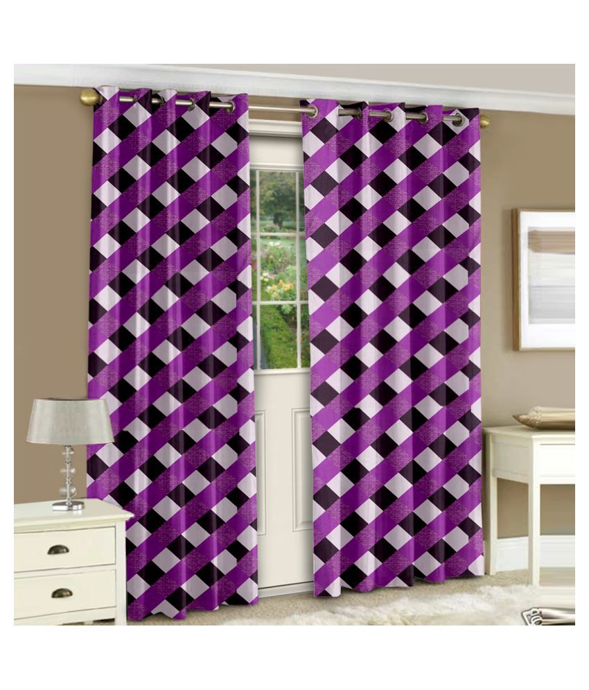 Bedspun Set of 2 Door Semi-Transparent Eyelet Polyester Curtains Purple