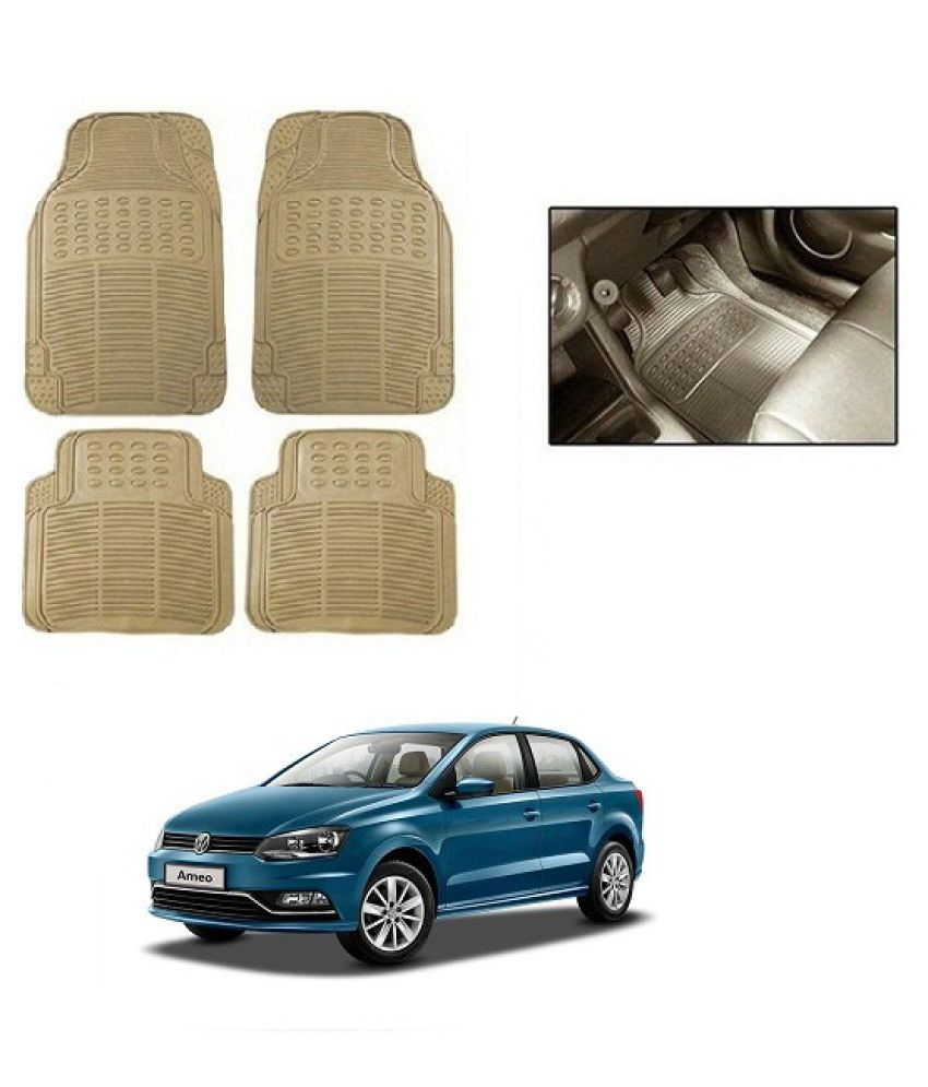 Neeb traders Car Rubber Foot  Mats for  Volkswagen Ameo (Set of 4, Cream)