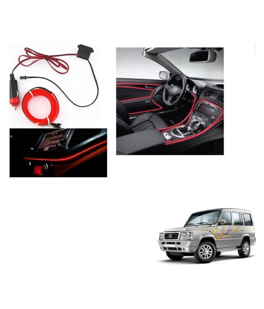 Auto Addict Red Color 12V 5Mtrs Roll Cold Light Car Socket Strip Neon Lamp Creator Decor Dashboard Interior Lighting For Tata Sumo