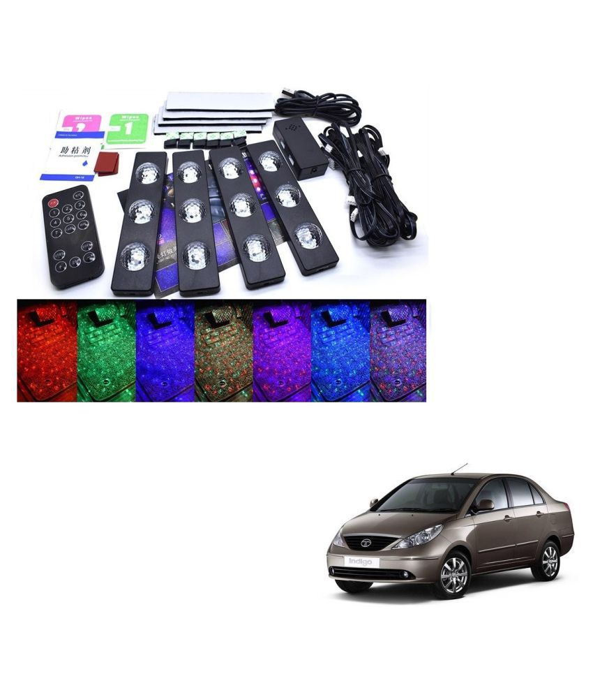 Auto Addict The Starlights Of Car Seat Bottom,7 Colors Lights,Breathing,Voice Ctrl,Create a Different Landscape in The Car For Tata Indigo